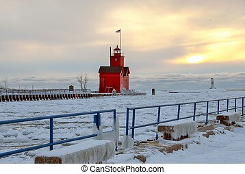 Big Red lighthouse in winter