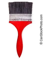Big red paintbrush isolated