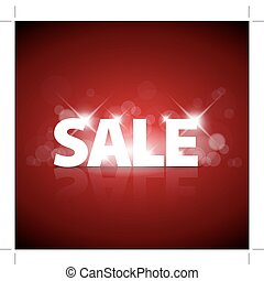 Big red sale advertisement with sparks on red background