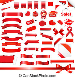 Big Red Set - Big Red Ribbons Set, Isolated On White...