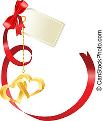 Big red silk bow with hanging gold hearts