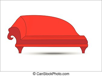 Big red Sofa on white background