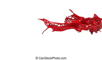 big red splashes in slow motion.. Colored paint