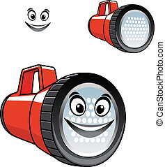 Big red torch or flashlight with a happy smile