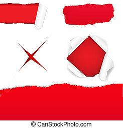 Big Red Torn Paper Set