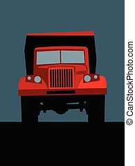 big red truck on the road, front view.