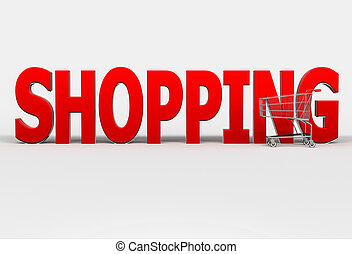 Big red word Shopping and shopping cart on white background....
