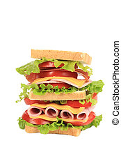 Big resh sandwich. Isolated on a white background.