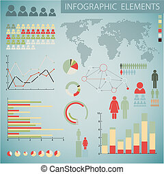 Big Retro Vector set of retro Infographic elements