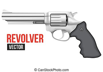 Big Revolver. Silver bright metal.
