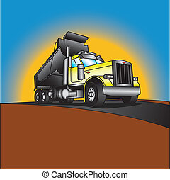 Illustration of a yellow big rig truck with a dump bed in the dumping position. This truck is parked on a roadway in front of a sunset.