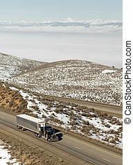 Big Rig Truckers Semi Truck Travels Interstate Cascade Range Background
