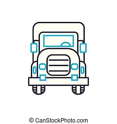 Big rig vector thin line stroke icon. Big rig outline illustration, linear sign, symbol concept.