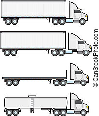 Four common types of American big rigs or eighteen wheeler tractor trailers.