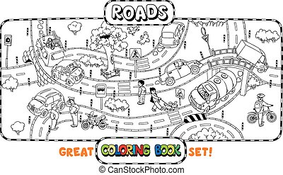 Big road coloring book - Great coloring book or coloring...