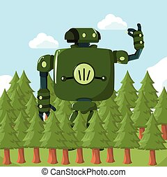 big robot in the forest