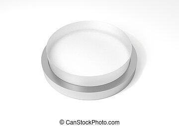 big round white transparent button