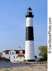 Big Sable Point Lighthouse in dunes, built in 1867, Lake...