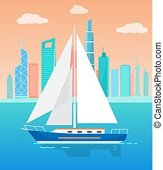 Big Sailboat with White Sails on Water Near City