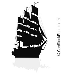 Big sailing ship - silhouette of a tall ship