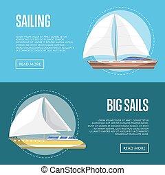 Big sails flyers with sailboats