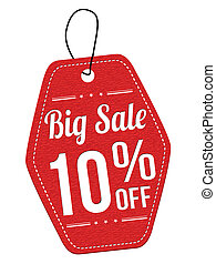 Big sale 10% off red leather label or price tag