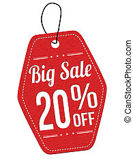 Big sale 20% off red leather label or price tag
