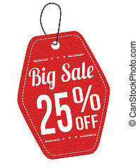 Big sale 25% off red leather label or price tag on white...