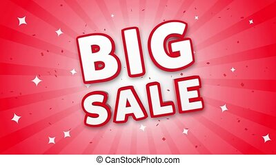 Big Sale 3D Text on Falling Confetti Background.