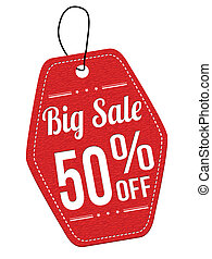 Big sale 50% off red leather label or price tag on white...