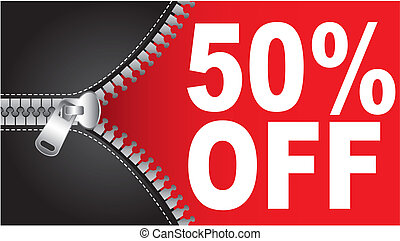 50 percent off text with zip. vector illustration