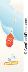 Big Sale 50 special offer. Paper airplane flying with red label on blue background with loudspeaker and clouds. Flat vector illustration EPS10.