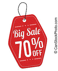 Big sale 70% off red leather label or price tag on white...