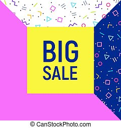 Big sale abstract background, neon memphis style
