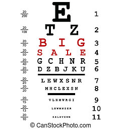 Big sale advertising with optical eye test used by doctors