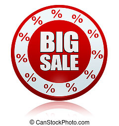 big sale and percentages symbols in red circle banner