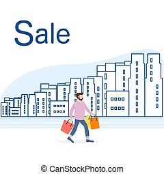 Big sale and shopping concept. Man, city.