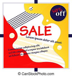 Big Sale And Shopping Concept. Sale Advertisement For Flyers, Labels. Big Sale Banner With Promotional Inscription, Discount, Place For Text On The Abstract Background. Cartoon Flat Vector Illustration