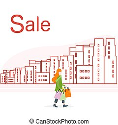 Big sale and shopping concept. Woman, city.