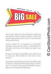 Big Sale Arrow Shape Sticker on Poster with Text