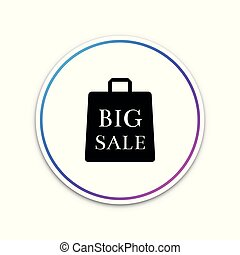 Big sale bag icon isolated on white background. Circle white button. Vector Illustration