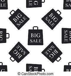 Big sale bag icon seamless pattern on white background. Flat design. Vector Illustration