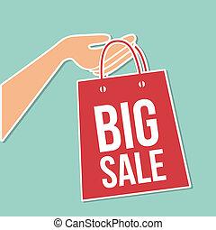 big sale bag over blue background vector illustration