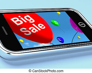 Big Sale Balloons On Mobile Phone Show Discounts