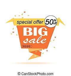 Big sale banner design. Paper banner can use for promotion, promotional brochure, booklet, posters, advertising shopping flyers, discount banners. Vector illustration