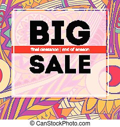 Big sale banner, get up to discount. Sales poster on tribal pattern backdrop. Special offer banner. Shopping sale sign. Geometric ethnic tribal pattern. Ad for shopping events, 3D illustration
