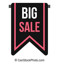 Big sale banner icon, flat style