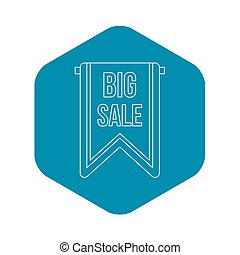Big sale banner icon, outline style