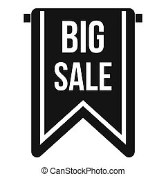 Big sale banner icon, simple style