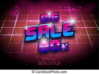 Big sale banner template 80s, 90s concept design